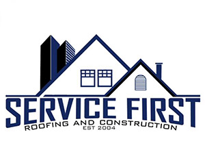 service first roofing and construction logo